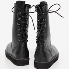 Black Back Lace Up Boots Grunge Omighty Dollskill Black back lace up boots. Super cute black boots that lace up in the back instead of the front. There's a zippered side. Size: 38 (us size 7). I haven't really had the chance to wear these and they've been sitting in my closet for years. I think I only wore them once or twice. There's one mark on the boot that may or may not be removable but it's really not noticeable imo. I wouldn't recommend these if you have large calves because they can…