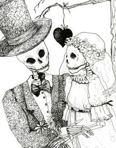 Day of the Dead Wedding Original drawing