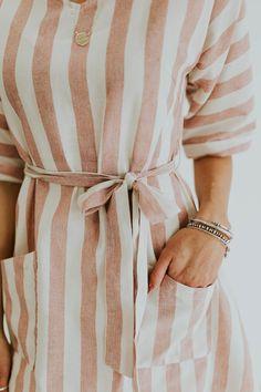 Thick vertical blush striped dress | Pando Grove