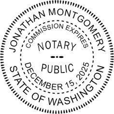 Washington Round Notary Seal Stamp