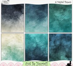 """Grungy Stormy Seas Printable Art Journal Papers by JustBYourself. Grungy, distressed blue hues are featured on these digitally painted printable art journal papers. Instant download collection of 6 - 8.5"""" x 11"""" papers. (1415) $2.50"""