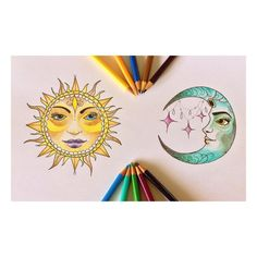 #Draw #Drawing #Moon #Sun #ilustration #Art