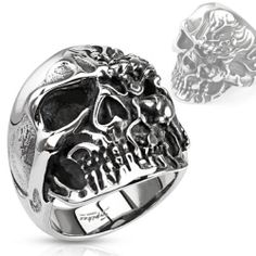 316L Stainless Steel Two-Faced Skull,HEAVY METAL,PUNK,SKATER,BIKER  Ring