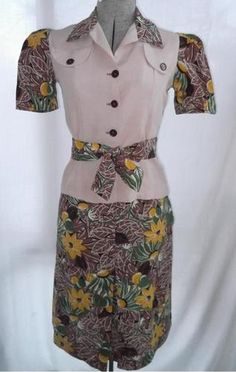 Vintage 1930s Dress Two Piece Suit Top Skirt Depression Era Old Hollywood Style | eBay