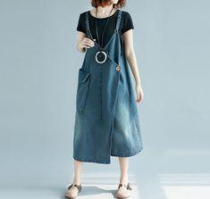 Women denim strap Dresses Summer Big pocket dress