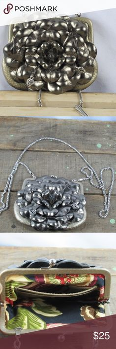 Brighton clutch/purse metallic pewter Super cute Brighton purse that can also be used as a wallet. The strap is able to be hidden inside of the clutch. It has been very gently worn. Brighton Bags Clutches & Wristlets