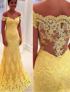 Modern Mermaid Yellow Off-the-Shoulder Lace Prom/Evening Dress With Applique,Fishtail dress