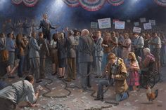 """This painting called """"Wake Up America"""", features """"The Forgotten Man"""" trying to saw himself out the the chains of debt."""