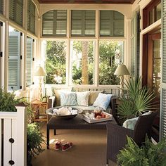 sun room in fabulous craftsman home - I'm relaxing just looking at this room!