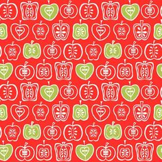 Makower Juicy 1344/R Apples Red vibrant summer fabric great for patchwork and quilting