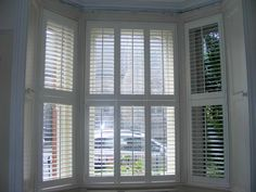 View a range of bay window shutters from Shuttersouth, Hampshire's leading shutter design and installation experts. Custom made bay shutters for all budgets Bay Window Shutters, Bay Windows, Shutter Designs, Custom Window Treatments, Red Bricks, Window Coverings, Blinds, Farmhouse, Southampton