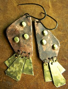 Freeform Tribal Mixed Metal Earrings Hand Forged by ChrysalisToo, $36.00