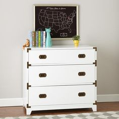 Kids White Campaign 3 Drawer Dresser
