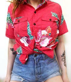 d32a869f Java wraps // 1990s vintage | 90s tropical patterned shirt | tourist button  down top | coral floral surfer summer shirt | size medium