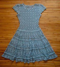 PATTERN. Голубое платье крючком СХЕМЫ