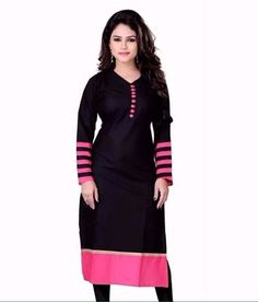 Gorgeous Black Cotton Semi Stitched Straight Cut Kurti Kurtas and Kurtis For Women