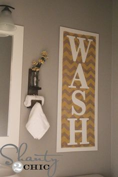 I don't necessarily like the yellow chevron, but the plain burlap would be great - maybe with the wood and letters painted a bright color?