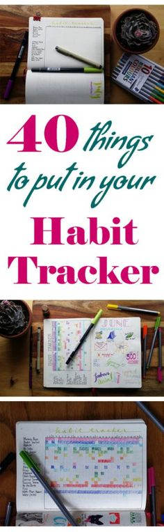 health habits A habit tracker is an amazingly simple tool that helps you make progress toward your goals. You can keep an eye on health, productivity, and a work/fun balance with ease. Here are 40 things to track in your habit tracker to get you started! Bullet Journal Book, Planner Bullet Journal, Life Planner, Happy Planner, Bullet Journals, Bullet Journal Habit Tracker, Trip Planner, Bujo Inspiration, Bullet Journal Inspiration