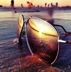 Beautiful sunset via those #aviator sunglasses