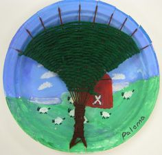 Cassie Stephens: In the Art Room: Tree Weaving with Third Grade- having fun with background on plate loom and tree shape for weaving