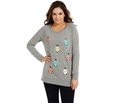 Bethany Mota Long Slv Penguin Holiday Sweatshirt Crew Neck Penguin S A273799