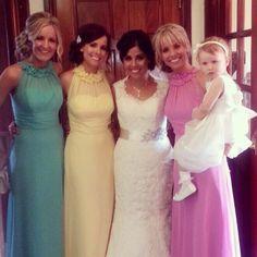 Different colour bridesmaid dresses.