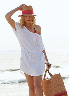 This simple, stylish dress is a breezy, casual cover-up option for beach or pool, and it also looks great with leggings around town.