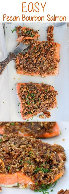 #ad This Baked Pecan Bourbon Salmon is an easy seafood recipe that's topped with pecans and a maple bourbon sauce, and then baked to juicy, flaky perfection. #Salmon #Seafood #Bourbon #pescetarian #pescatarian via @champagneta0249
