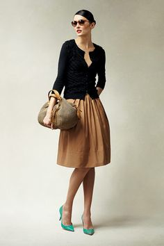 Talbots (2011) What a fun work outfit idea! Teal pumps are a nice pop of color.