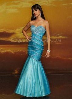 Sirène évasé drapé satin organza robe de soirée