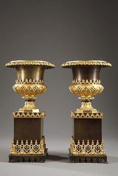 Pair of Charles X vases in gilded and patinated bronze with Gothic patterns