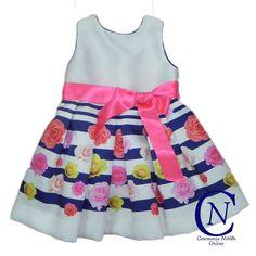 Vestido ceremonia para niña Confecciones Anavig raso flores rosa