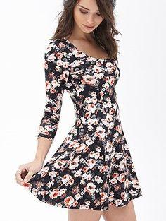 long sleeved short flare dress.