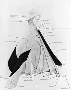 "Construction of the famous ""Four Leaf Clover"" evening dress designed by Charles James (American, born in England, 1906–78)."