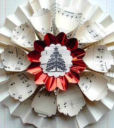 Vintage paper wreath Christmas tree art and sheet music petals