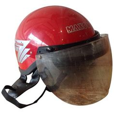 Vintage Maxon Bermuda Motorcycle Helmet ($49) ❤ liked on Polyvore featuring home, home decor, decor, outdoor signs, vintage home decor, outside home decor, red home decor and vintage home accessories