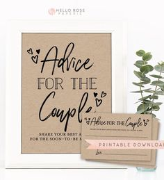 Advice for the Couple Printable Kraft Sign + Cards . Hen Do Bachelorette . Words of Advice Mr and Mrs Backyard Engagement Parties, Engagement Party Planning, Engagement Party Favors, Wedding Reception Planning, Engagement Party Decorations, Couples Shower Decorations, Surprise Engagement Party, Backyard Parties, Wedding Favors