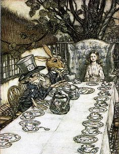 Arthur Rackham Alice in Wonderland A Mad Tea Party painting is shipped worldwide,including stretched canvas and framed art.This Arthur Rackham Alice in Wonderland A Mad Tea Party painting is available at custom size. Arthur Rackham, Lewis Carroll, Art And Illustration, Book Illustrations, Friends Illustration, Film Tim Burton, Alice In Wonderland Illustrations, Alice In Wonderland Artwork, Chesire Cat