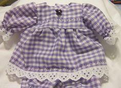 "Purple Gingham 1/4"" Check Dress set Fits 12-14"" Berenguer,  incl La Newborn  #KindredHeartsDesigns"