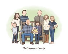 Simmons Family, Family Drawing, Digital Portrait, Doodle Drawings, Family Portraits, Special Gifts, Christmas Ideas, Gifts For Her, Birthday Gifts