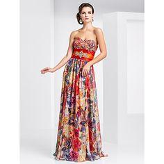 Sheath/Column Sweetheart Floor-length Chiffon Evening Dress With Pattern/Print – USD $ 249.99