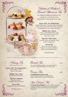 The English Rose Tea Room Menu in Scottsdale, Arizona Rosen Tee, Tee Sandwiches, Finger Sandwiches, Tea Party Menu, English Afternoon Tea, Hp Sauce, Simply Yummy, Afternoon Tea Parties, Afternoon Tea Menu Ideas