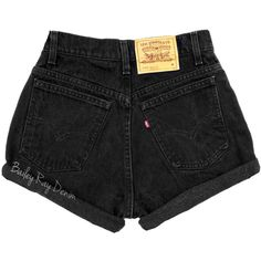 Levis High Waisted Denim Shorts Cuffed Rolled Black Denim Shorts Plain... ($19) ❤ liked on Polyvore featuring shorts, bottoms, dark olive, women's clothing, high-waisted jean shorts, high-waisted shorts, distressed jean shorts, destroyed denim shorts and zipper pocket shorts