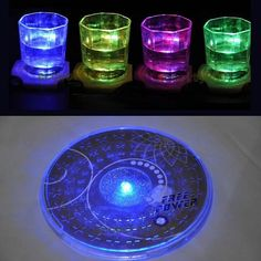 Hot Color Changing Led Lights Bottle Cup Mat Coaster For Clubs, Bars Party Po