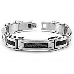 Stainless-Steel-Mens-Cable-Link-Bracelet