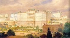Róbert Nádler: The planed view of the royal palace from the north, 1900 Buda Castle, Royal Palace, Architectural Drawings, Old Buildings, Hungary, Austria, Castles, Royals, Taj Mahal