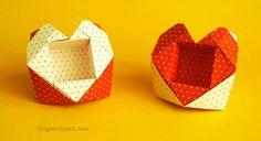 Origami tutorial to make a Heart-Box. Designed by Leyla Torres. SUBTÍTULOS EN ESPAÑOL • Leyla Torres Origami Spirit Video tutorial series. http://www.origami...