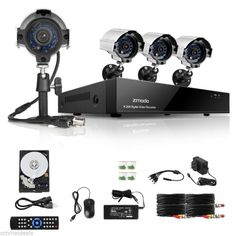 Zmodo 8 CH DVR 4 600TVL Outdoor CCTV Security Surveillance Camera System 500GB #Zmodo===$199 This looks great! need security here outside at our cars!