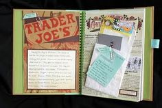 Anything goes! Even a grocery store (Trader Joe's) bag can be added to a page in your Anything Book. #anythingbook