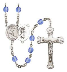 St. Christopher/Surfing Silver-Plated Rosary with 6mm Saphire Fire Polished beads